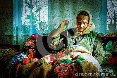Russian woman-embroiderer in the Kaluga region.