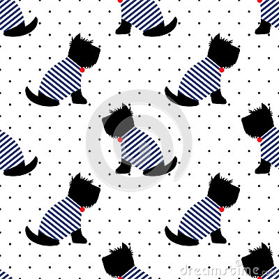 Scottish terrier in a sailor t-shirt seamless pattern. Sitting dogs on white polka dots background.