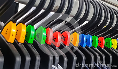 Group of cloth hanger with various color sizing label