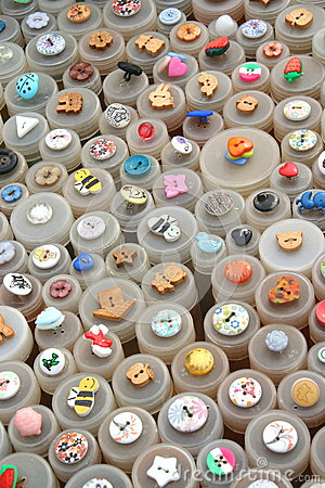 Colorful assortment of buttons.