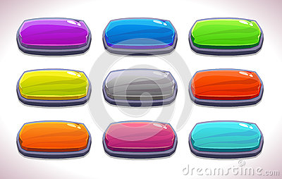Funny cartoon colorful long horizontal buttons