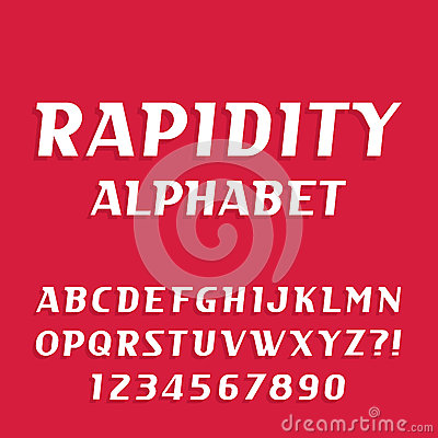 Rapidity alphabet vector font. Oblique letters and numbers