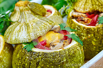 Baked courgettes with stuffing