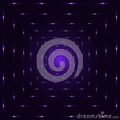 Purple violet neon laser perspective abstract spiritual tunnel, violet punctuated square lines