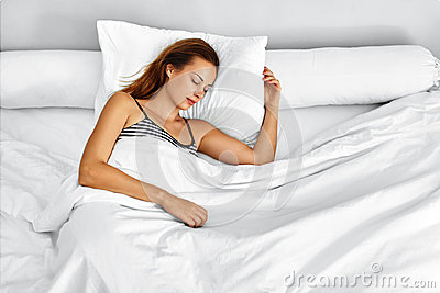 Healthy Lifestyle. Woman Sleeping In Bed. Morning Relaxation, Sleep