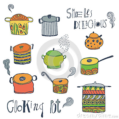 Cute cooking pots and lettering. Vector set.