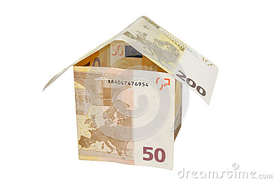 House made from euro bills isolated