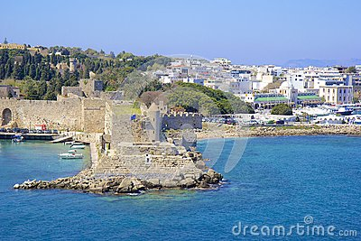 Rhodes - panorama of Rhodes town and windmills, Greece
