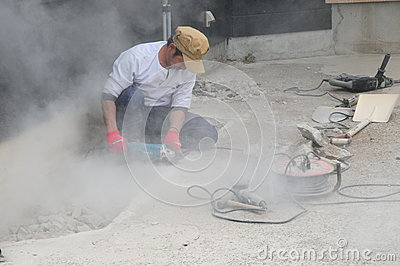 Japanese Stone Worker in Action
