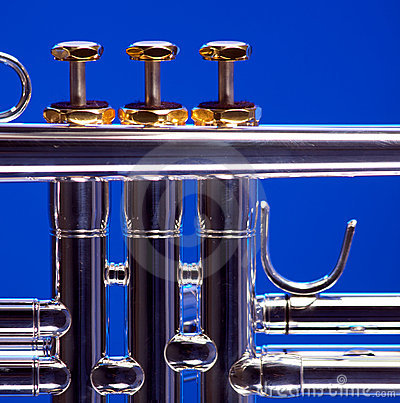 Silver Trumpet Isolated on Blue