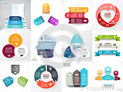 Vector circle arrows infographic set. Business diagram, graphs, startup logo presentation, idea chart. Data options, 3