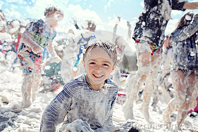 Foam party and summer fun in the sun