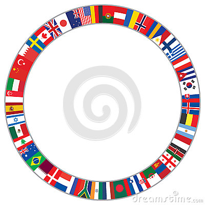 Round frame made of world flags