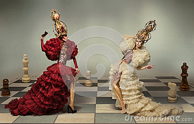 Battle of chess queens on chess board