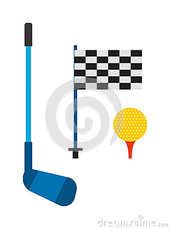 Set of golf club tee and ball sport leisure equipment  vector illustration