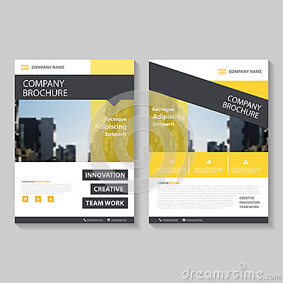 Yellow Vector annual report Leaflet Brochure Flyer template design, book cover layout design, Abstract presentation templates