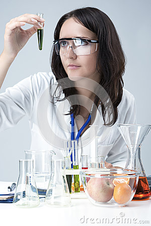 Science and Medicine Concepts. Portrait of Female Lab Staff Dealing With Flasks and Substances in Laboratory