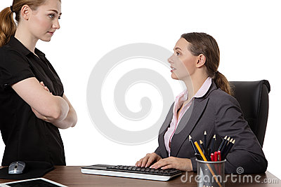 Office workers discussing in the office