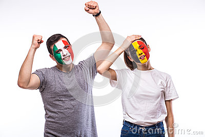 Belgium vs Italy. Football fans of national teams demonstrate emotions: Belgium lose, Italy win.