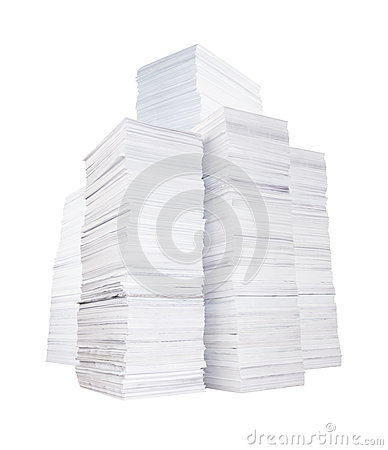 Several stacks of paper