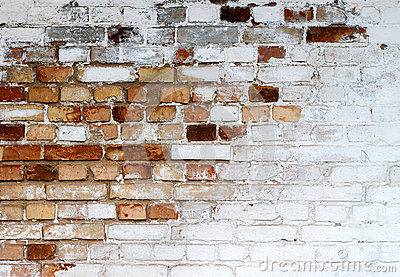 Old chipped white brick wall texture background, whitewashed grungy brick wall, abstract red white vintage background