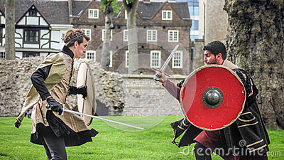 Actors Sword Fight. Open Air Theatre Shakespeare Play