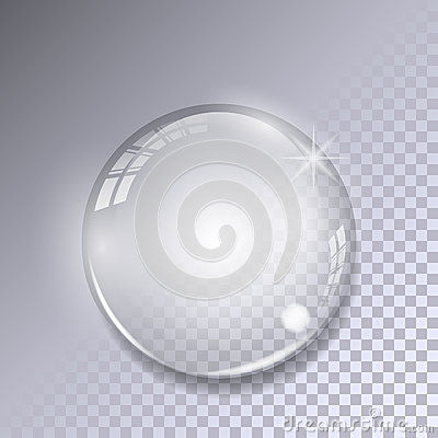 Crystal ball with reflections on transparent background. Realistic glass sphere.