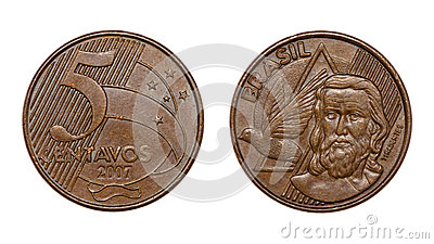 Five cents brazilian real coin front and back faces