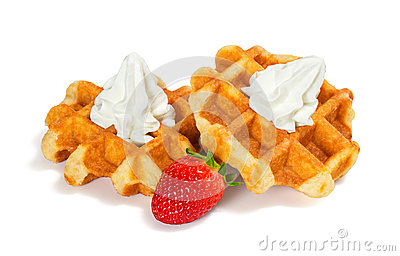 Belgian Waffles with Whipped Cream and Strawberry