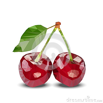 Couple of two red polygonal cherries with green leaves. Vector illustration.
