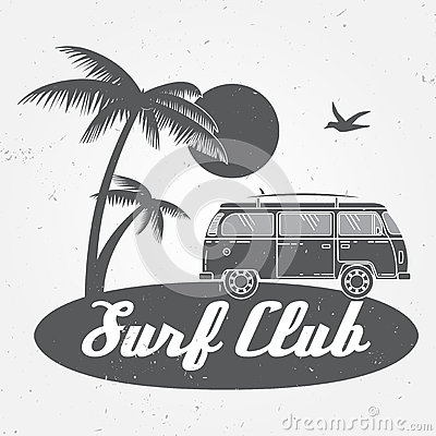 Surf club concept Vector Summer surfing retro badge. Surfer club emblem , rv outdoors banner, vintage background.