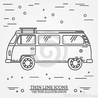 Travel bus family camper thin line. Traveler truck tourist bus outline icon. RV travel bus grey and white vector pictogram isolate