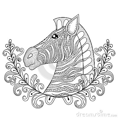 Zebra in Floral frame. Vector zentangle Zebra Head illustration,