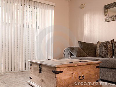 Cozy room with vertical blinds
