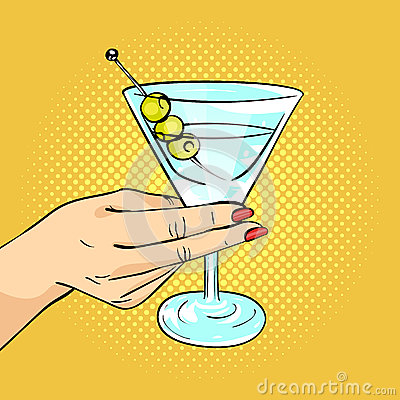 Vector hand drawn pop art illustration of woman hand holding Martini glass