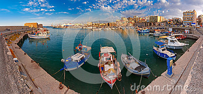 Panorama of Old harbour, Heraklion, Crete, Greece