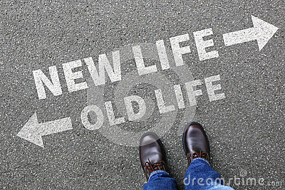 stock image of old new life future past goals success decision change
