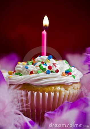 Cupcake with lite candle