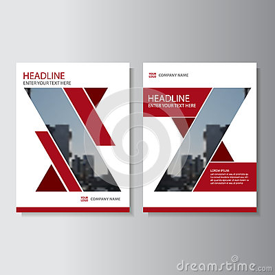Red geometric Vector annual report Leaflet Brochure Flyer template design, book cover layout design
