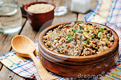 Lentils and rice with Crispy Onions and Parsley