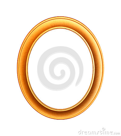 Gold plated wooden picture frame  on white with clipping path