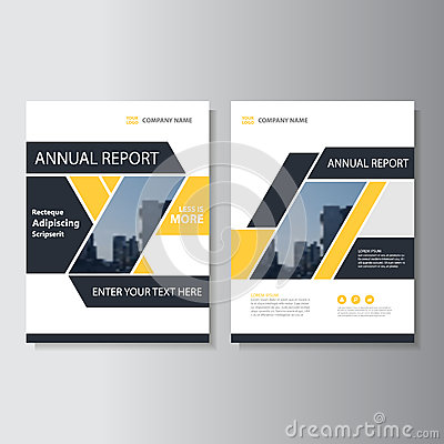 Yellow black geometric Vector annual report Leaflet Brochure Flyer template design, book cover layout design