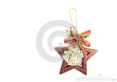 Christmas bells and star accessory on white background.