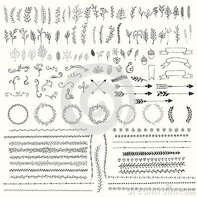 Hand drawn vintage leaves, arrows, feathers, wreaths, dividers, ornaments and floral decorative elements