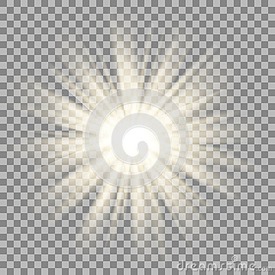 Sun rays on transparent background. Star flare effect.