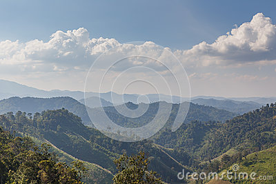 Sideway Landscape of The Road to Umphang. Mae Hong Son Province, Thailand