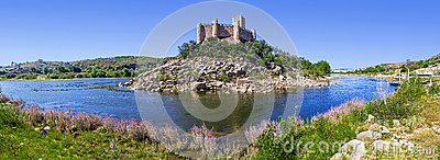 Panorama of the Templar Castle of Almourol and Tagus river.
