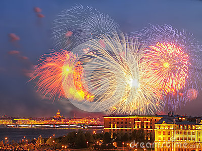 Fireworks over Neva river scape. Saint Petersburg, Russia