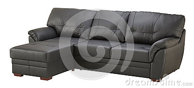 Black brown leather corner sofa