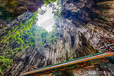 Hindu temple and view in the Batu Caves